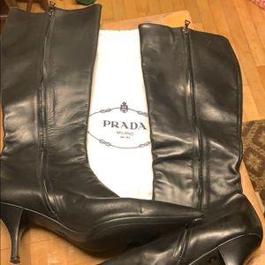 NWOT PRADA Black Leather Short Heel Logo Zip Boots